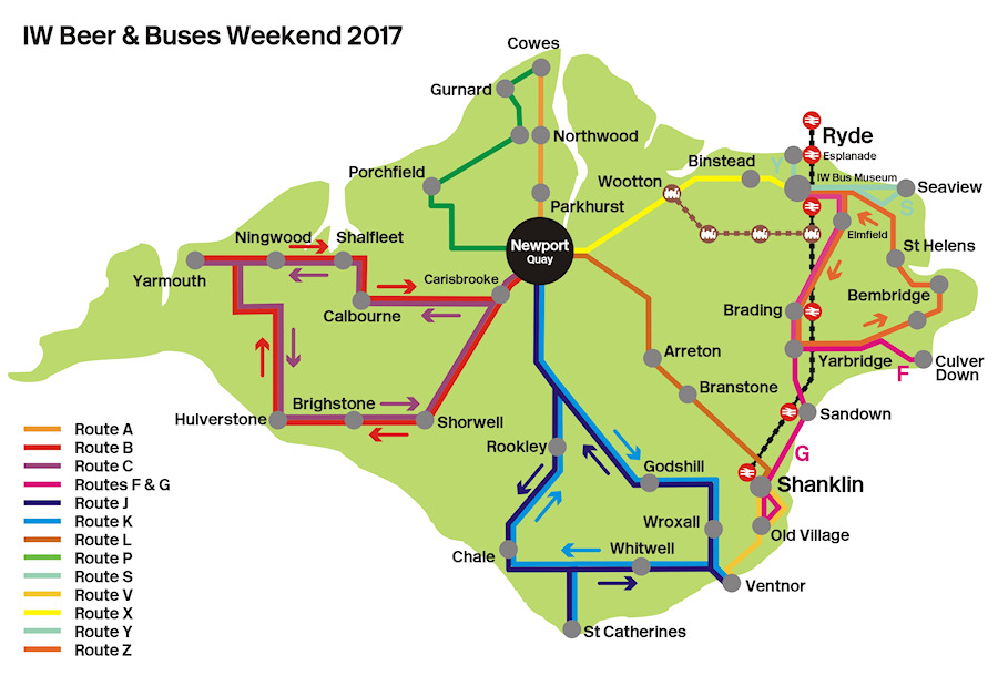 classic buses and beer route map